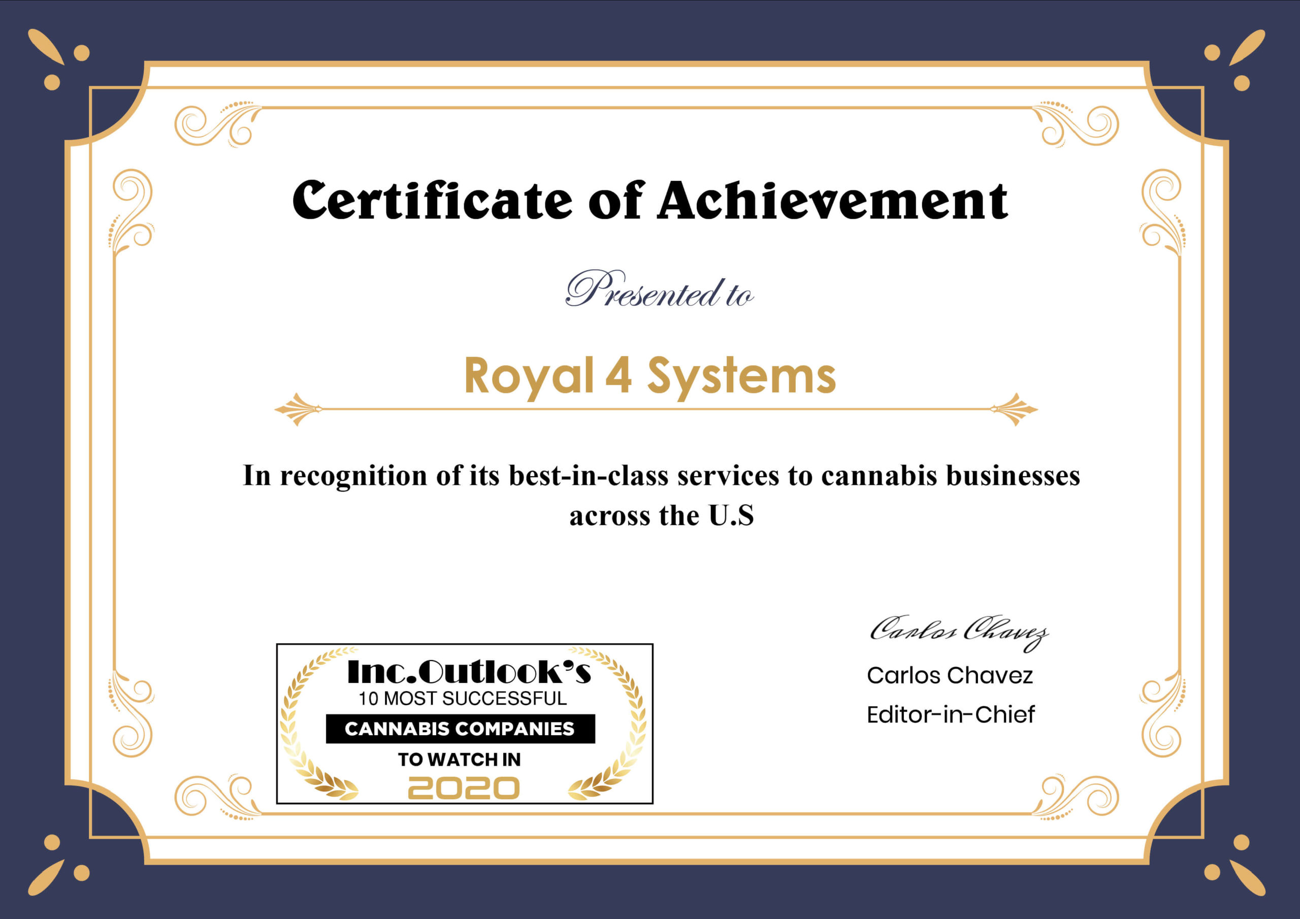 Cannabis Certificate Royal 4 Systems